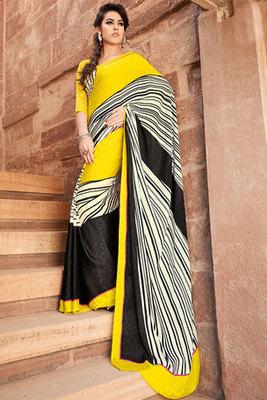 Yellow and Black Printed Saree made of Art Silk Fabric
