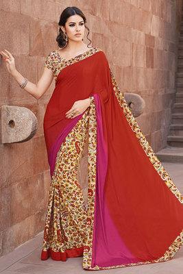 Maroon Printed Saree with Art Silk Fabric