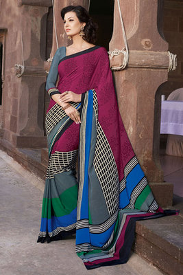 Maroon and Grey Printed Saree Manufactured by Art Silk Fabric