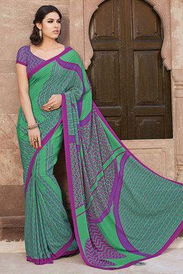 Green and Pink Art Silk Printed Saree