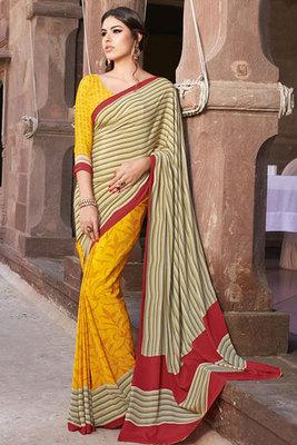 Yellow and Cream Art Silk Printed Saree