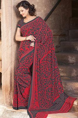 Maroon and Black Printed Saree With Art Silk Fabric