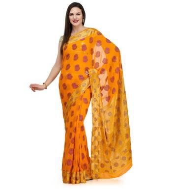 Orange Resham Woven Viscose Saree chiffon banarasi  Sari with Heavy Pallu