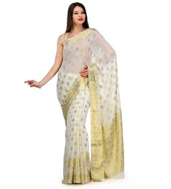 Off White Zari Woven Viscose Saree Banarasi Chiffon Sari With Heavy Pallu