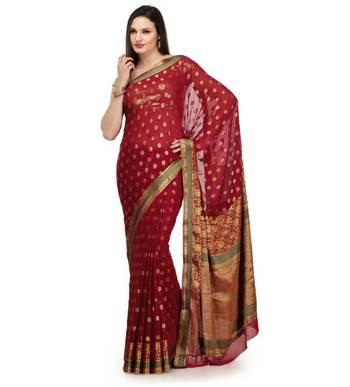 Maroon Zari Woven Viscose Saree Banarasi Chiffon Sari With Heavy Pallu
