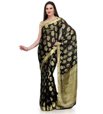 Black Zari Woven Viscose Saree Banarasi Chiffon Sari With Heavy Pallu Wedding Festival Party