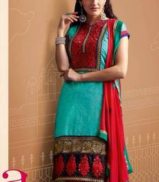 Buy Designer Teal Green Chanderi Suit salwars-and-churidar online