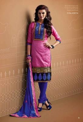 Designer Pink Chanderi Suit