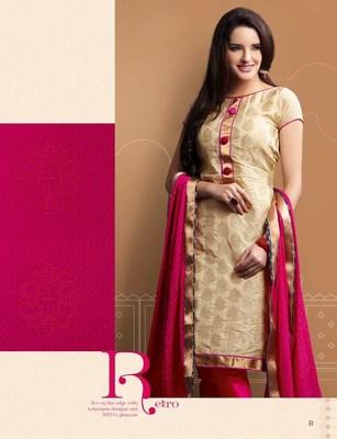 Designer Beige and Pink Chanderi Suit