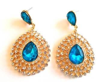 Blue Crystal Diamond Earrings