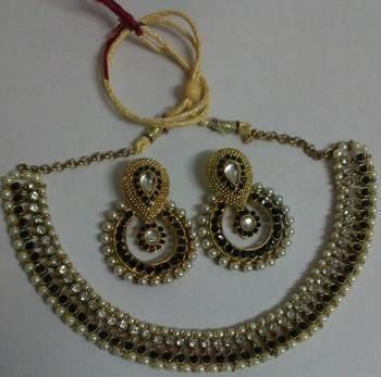 Designer Black colour Traditional Necklace set