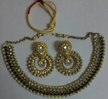 Designer Kundan Earrings with Black colour Traditional Necklace set