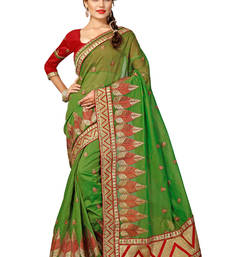 Buy light green embroidered chanderi silk saree With Blouse ganpati-saree online