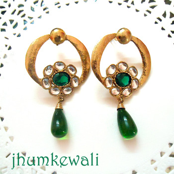 FLORAL KUNDAN EARRINGS with green drops