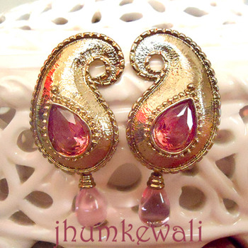 PINK PAISLEY EARRINGS