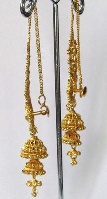 Wedding Golden Double Jhumka Chain Earring