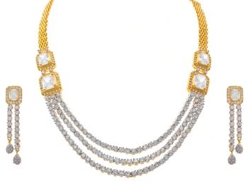 JFL- Ethnic Fusion One Gram Gold Plated Cz American Diamond Designer Necklace Set