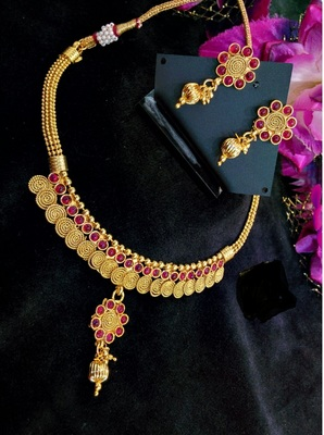 Pink Agate Gold Plated Necklace Sets