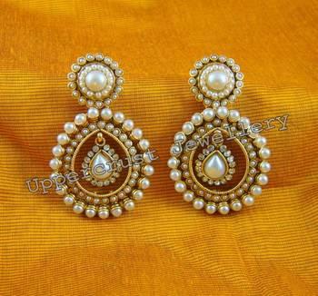 Elegant White CZ Pearl Polki Earrings
