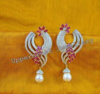 CZ Simulated Diamond Ruby Pearl Dangler Earrings