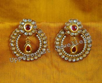 Red Kundan Pearl Meena Chand Bali Studs Earrings