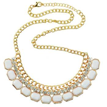 White Opal Stone Celebrity Casual Statement Necklace