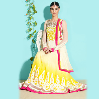 Yellow and White Floor Touch Anarkali
