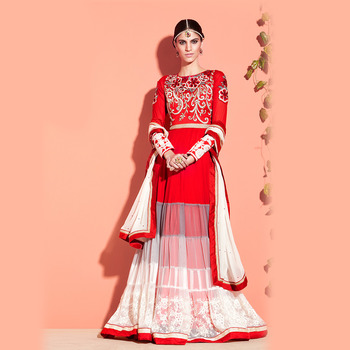 Red Floor Touch Anarkali