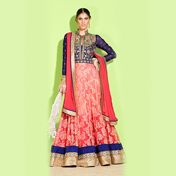 Blue and Pink Floor Touch Anarkali