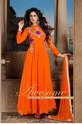 Awesome Orange Georgette Anarkali Suit With Chiffon Dupatta