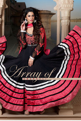 Black and Pink Georgette Anarkali Suit Beautified by Embroidery work