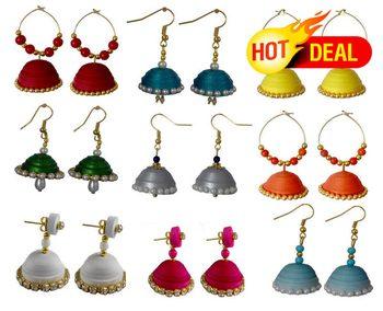 0de62c154 Navratri Special Combo of 9 handmade paper quilling earrings ...