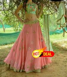 Buy Pink embroidered georgette unstitched lehenga choli hot-deal online