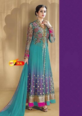 Sky blue net embroidered semi stitched salwar with dupatta
