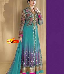 Buy Sky blue net embroidered semi stitched salwar with dupatta anarkali-salwar-kameez online