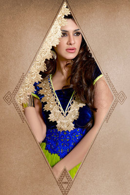 Exclusive Green and Blue Net Embroidered Fancy Suit