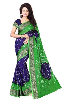 parrot green hand woven bandhani saree With blouse