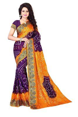 yellow hand woven bandhani saree With blouse