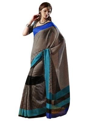 Triveni Amazing Beige Indian Traditional Bhagalpuri Silk Printed Saree TSVD19001