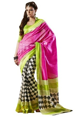 Triveni Amazing Multi Indian Traditional Bhagalpuri Silk Printed Saree TSVD19002