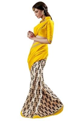 Triveni Amazing Yellow Indian  Bhagalpuri Silk Printed Saree TSVD19006
