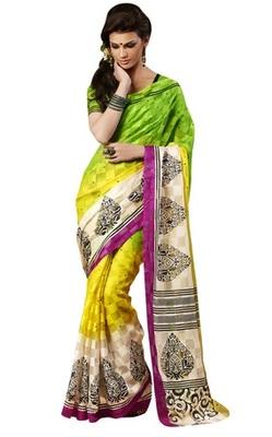 Triveni Amazing Yellow Indian  Bhagalpuri Silk Printed Saree TSVD19012