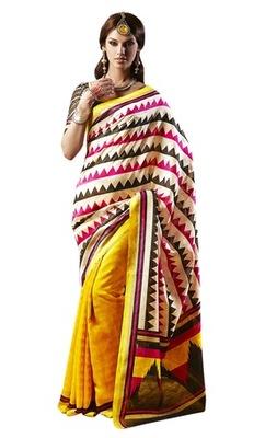 Triveni Amazing Yellow Indian  Bhagalpuri Silk Printed Saree TSVD19015