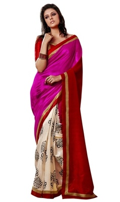 Triveni Amazing Cream Indian Traditional Bhagalpuri Silk Printed Saree TSVD19017