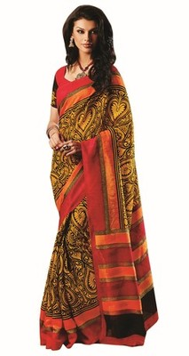 Triveni Amazing Yellow Indian  Bhagalpuri Silk Printed Saree TSVD19018