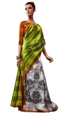 Triveni Amazing Multi Indian Traditional Bhagalpuri Silk Printed Saree TSVD19019