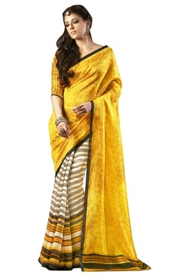 Triveni Amazing Yellow Indian  Bhagalpuri Silk Printed Saree TSVD19024