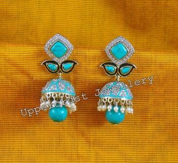 CZ Turquoise Jhumka Earrings