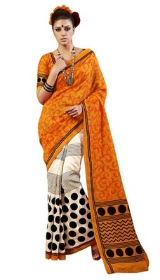 Triveni Amazing Off White Indian  Bhagalpuri Silk Printed Saree TSVD19030