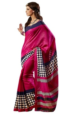 Triveni Amazing Magenta Indian  Bhagalpuri Silk Printed Saree TSVD19031